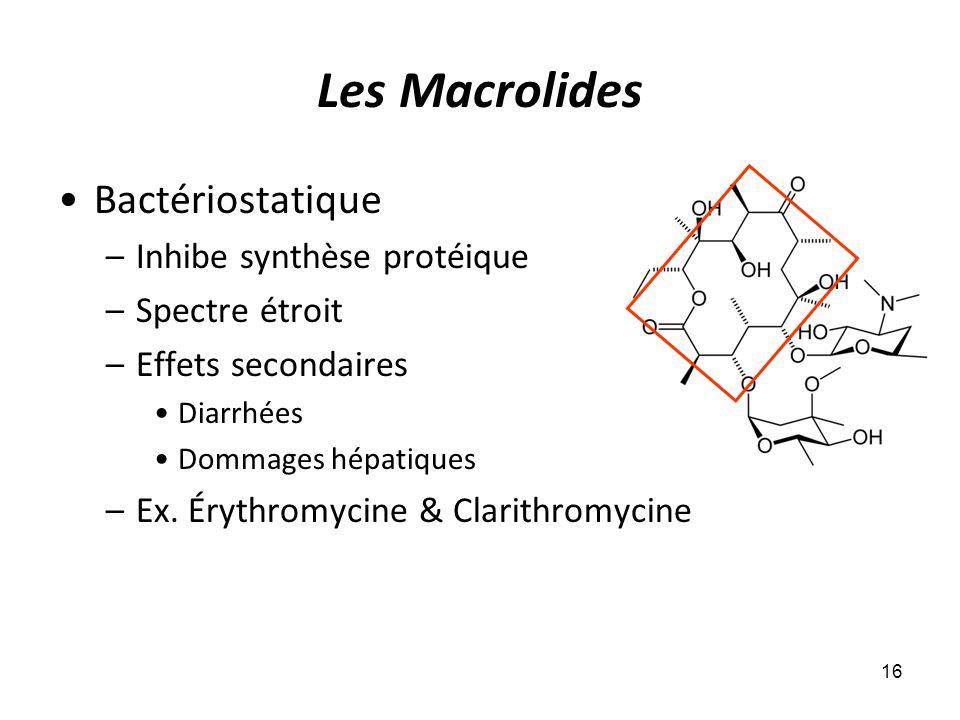 Les Macrolides Bactériostatique –Inhibe synthèse protéique –Spectre étroit –Effets secondaires Diarrhées Dommages hépatiques –Ex. Érythromycine & Clar