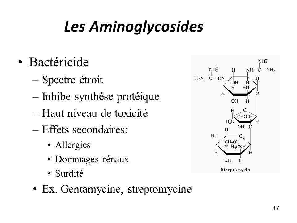 Les Aminoglycosides Bactéricide –Spectre étroit –Inhibe synthèse protéique –Haut niveau de toxicité –Effets secondaires: Allergies Dommages rénaux Sur