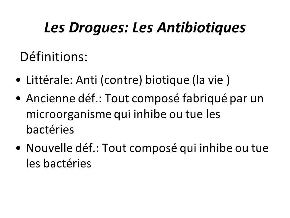 Les Drogues: Les Antibiotiques Littérale: Anti (contre) biotique (la vie ) Ancienne déf.: Tout composé fabriqué par un microorganisme qui inhibe ou tu