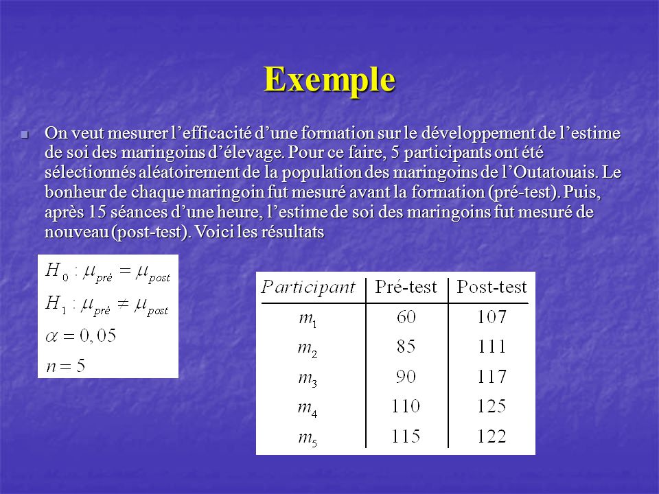 Exemple On veut mesurer lefficacité dune formation sur le développement de lestime de soi des maringoins délevage.