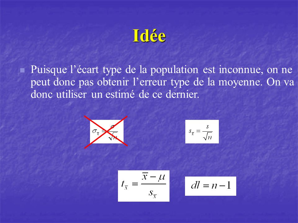 Idée Puisque lécart type de la population est inconnue, on ne peut donc pas obtenir lerreur type de la moyenne.