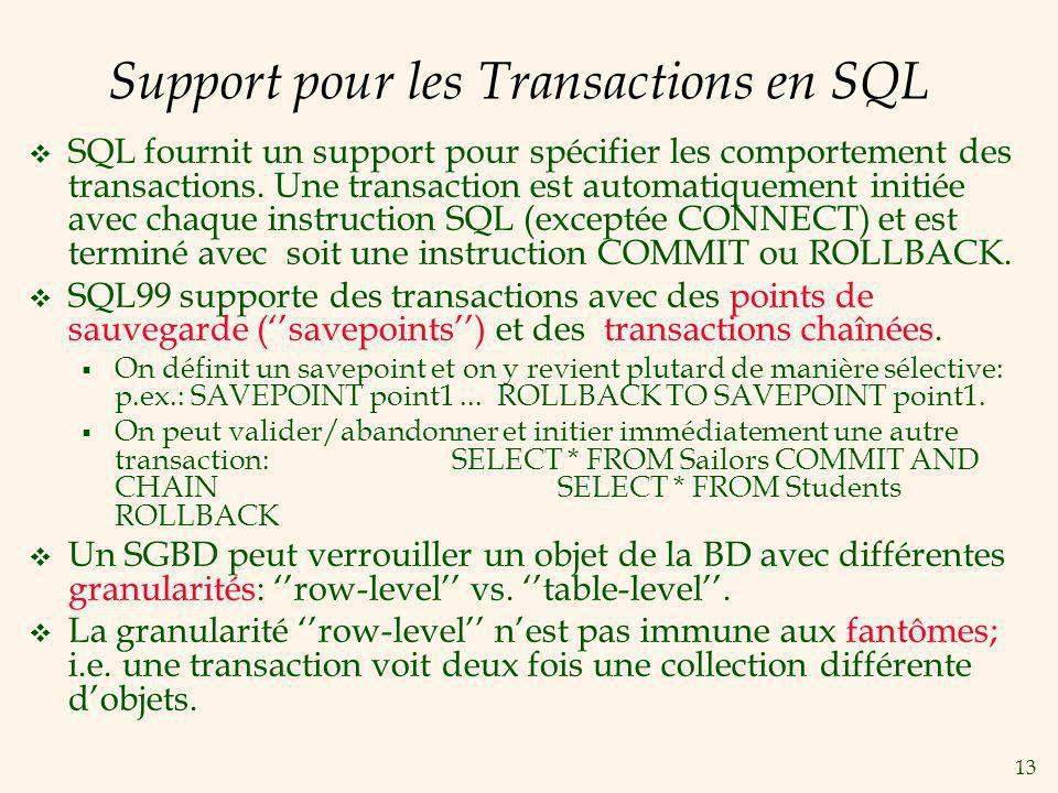 13 Support pour les Transactions en SQL SQL fournit un support pour spécifier les comportement des transactions.