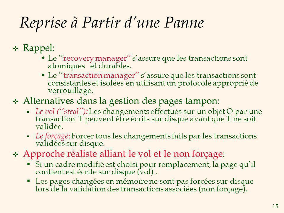 15 Reprise à Partir dune Panne Rappel: Le recovery manager sassure que les transactions sont atomiques et durables.