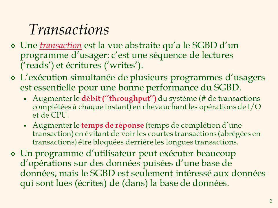 2 Transactions Une transaction est la vue abstraite qua le SGBD dun programme dusager: cest une séquence de lectures (reads) et écritures (writes).