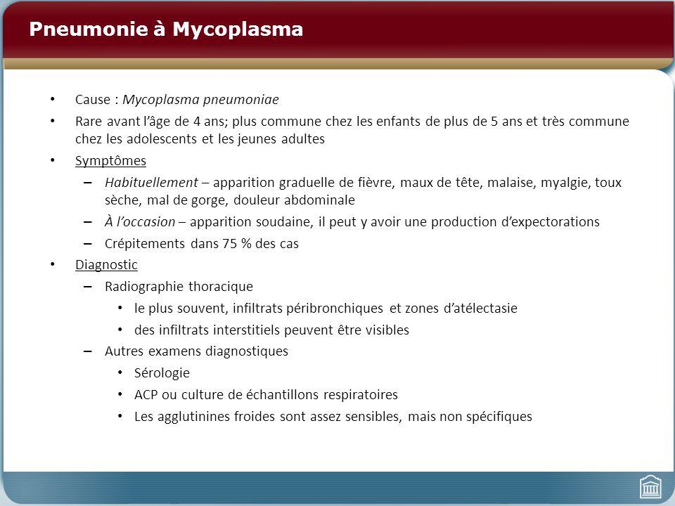 Pneumonie à Mycoplasma Cause : Mycoplasma pneumoniae Rare avant lâge de 4 ans; plus commune chez les enfants de plus de 5 ans et très commune chez les