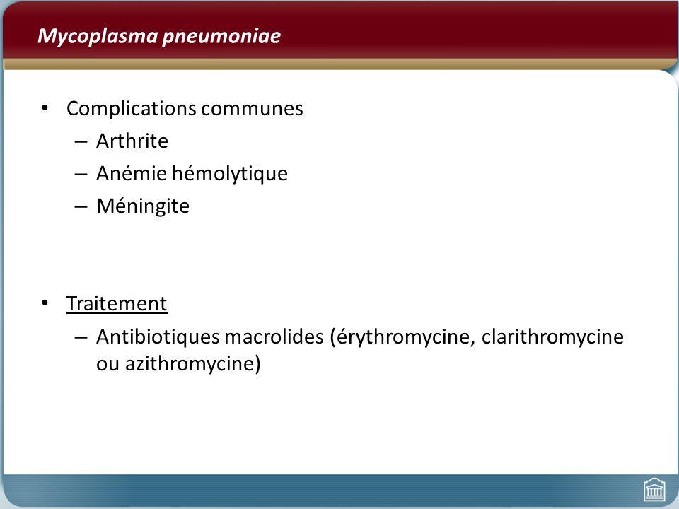 Mycoplasma pneumoniae Complications communes – Arthrite – Anémie hémolytique – Méningite Traitement – Antibiotiques macrolides (érythromycine, clarith
