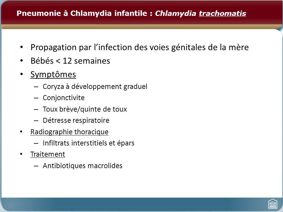 Pneumonie à Chlamydia infantile : Chlamydia trachomatis Propagation par linfection des voies génitales de la mère Bébés < 12 semaines Symptômes – Cory