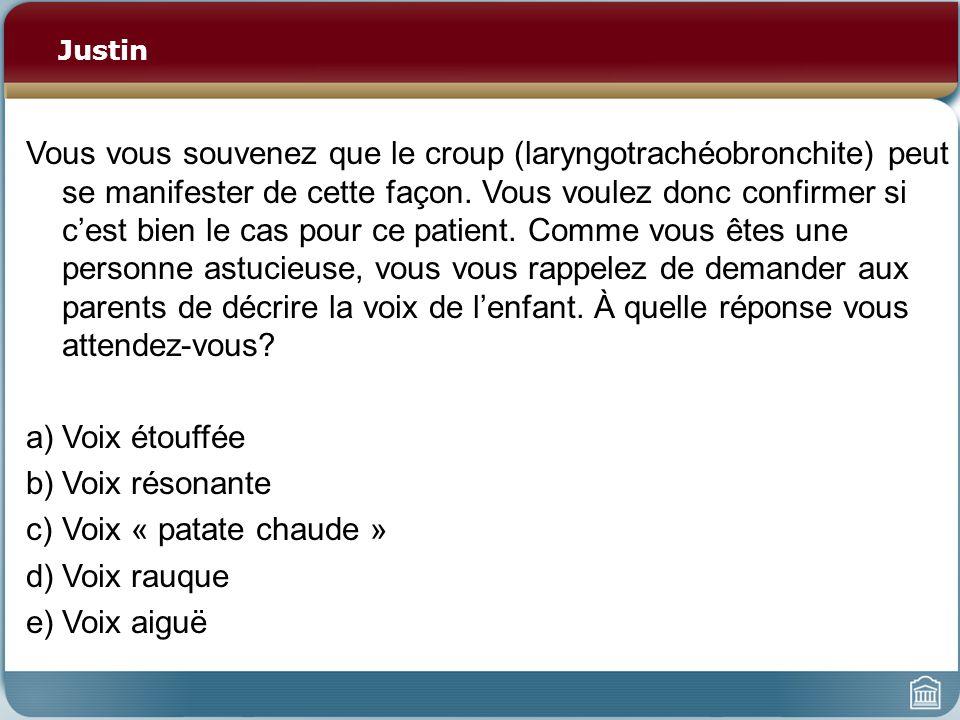 Justin Vous vous souvenez que le croup (laryngotrachéobronchite) peut se manifester de cette façon. Vous voulez donc confirmer si cest bien le cas pou