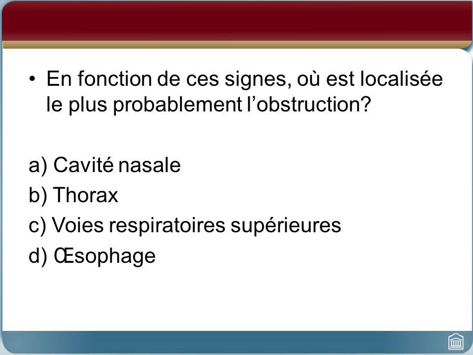 Cas 1 : Joy En fonction de ces signes, où est localisée le plus probablement lobstruction? a) Cavité nasale b) Thorax c) Voies respiratoires supérieur