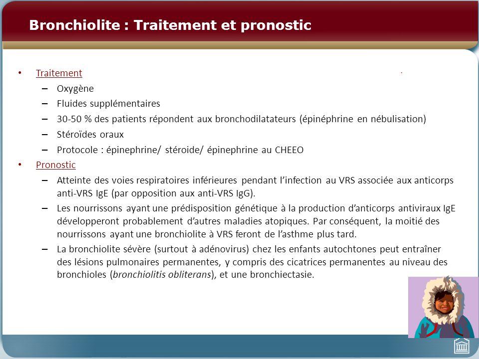 Pneumonie compliquée La pneumonie bactérienne peut être compliquée par : – Épanchement pleural Épanchement parapneumonique (transsudat) Empyème (exsudat) – accumulation de matière suppurative et de bactéries dans lespace pleural – Abcès pulmonaire Nécrose et dégradation du tissu pulmonaire dans des cavités remplies de pus et dair (niveau hydro- aérique) – Pneumatocèle Nécrose et dégradation du tissu pulmonaire produisant des cavités remplies dair seulement – Pneumonie nécrosante Combinaison dempyème, de condensations en plage et dabcès pulmonaires multiples dans le poumon présentant des condensations en plage Symptômes : Détresse respiratoire progressant rapidement, cyanose, choc Organismes : – Streptococcus Pneumoniae : cause la plus commune dépanchements parapneumoniques, dempyème et de pneumonie nécrosante chez les enfants – Haemophilus influenzae : 75 % sont compliqués par un épanchement pleural – Streptocoques du groupe A : pneumonie sévère, épanchement pleural massif dans au moins 2/3 des cas – Staphylococcus aureus: pneumonie sévère, épanchement pleural massif et empyème (75 %), pneumothorax (40 $), pneumatocèles (45 %), abcès pulmonaires