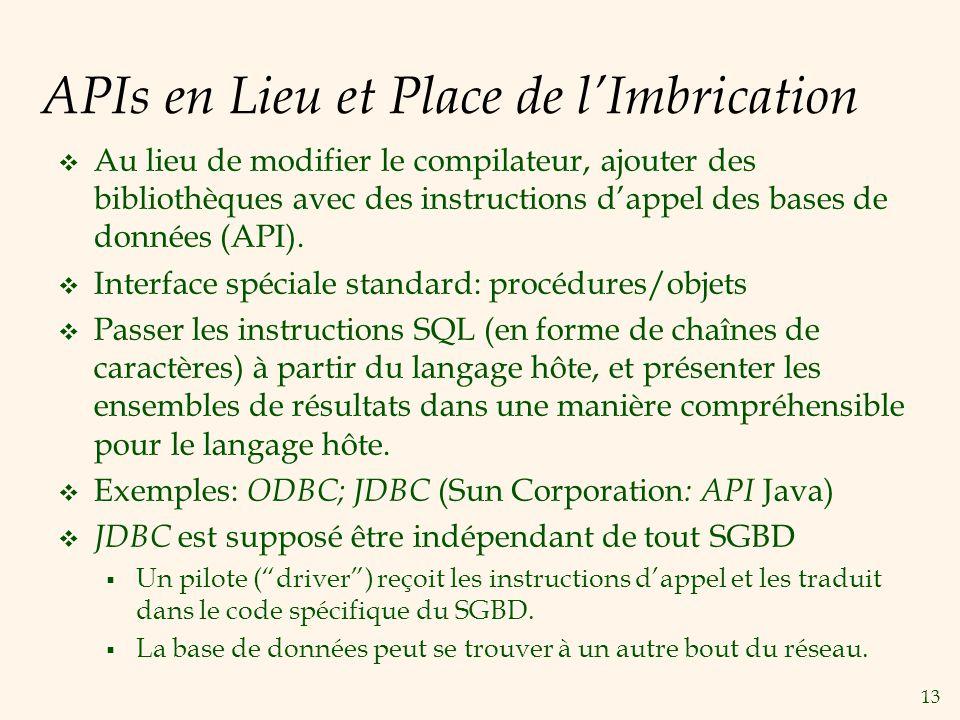 13 APIs en Lieu et Place de lImbrication Au lieu de modifier le compilateur, ajouter des bibliothèques avec des instructions dappel des bases de donné