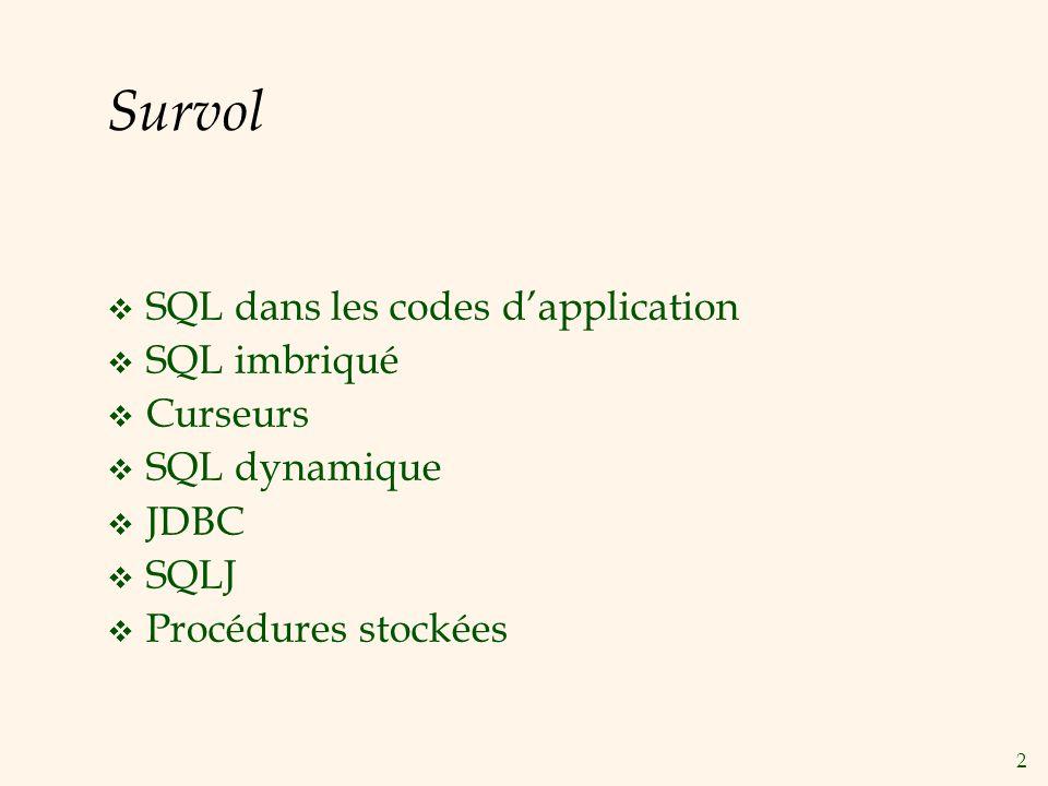 2 Survol SQL dans les codes dapplication SQL imbriqué Curseurs SQL dynamique JDBC SQLJ Procédures stockées