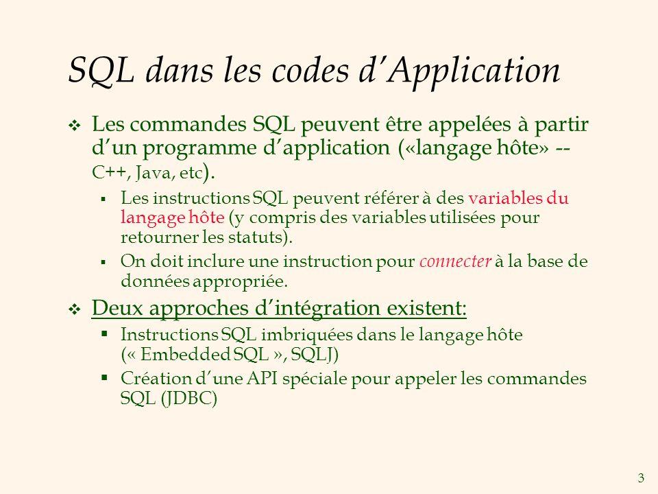 3 SQL dans les codes dApplication Les commandes SQL peuvent être appelées à partir dun programme dapplication («langage hôte» -- C++, Java, etc ). Les