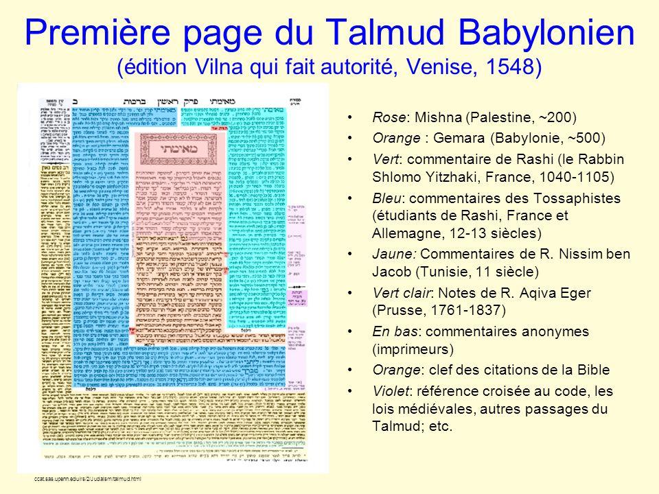 Première page du Talmud Babylonien (édition Vilna qui fait autorité, Venise, 1548) Rose: Mishna (Palestine, ~200) Orange : Gemara (Babylonie, ~500) Ve