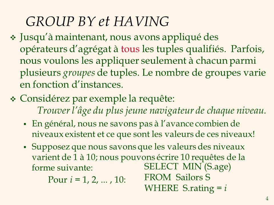 4 GROUP BY et HAVING Jusquà maintenant, nous avons appliqué des opérateurs dagrégat à tous les tuples qualifiés.