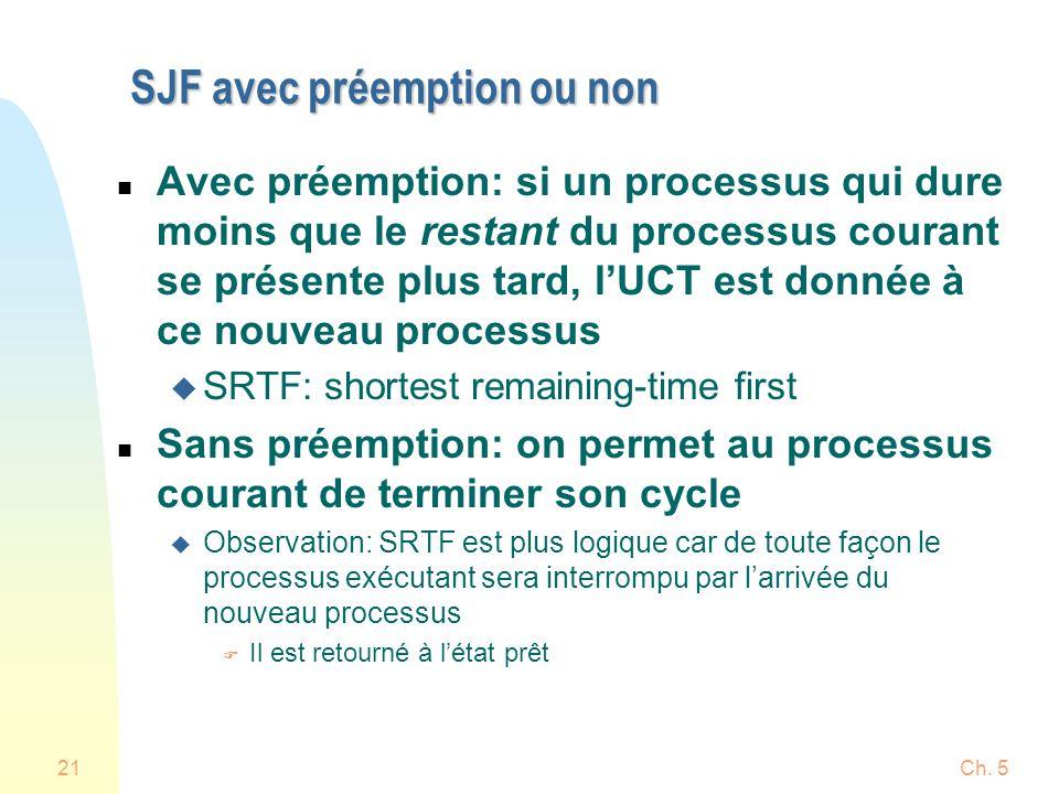 Ch. 521 SJF avec préemption ou non n Avec préemption: si un processus qui dure moins que le restant du processus courant se présente plus tard, lUCT e