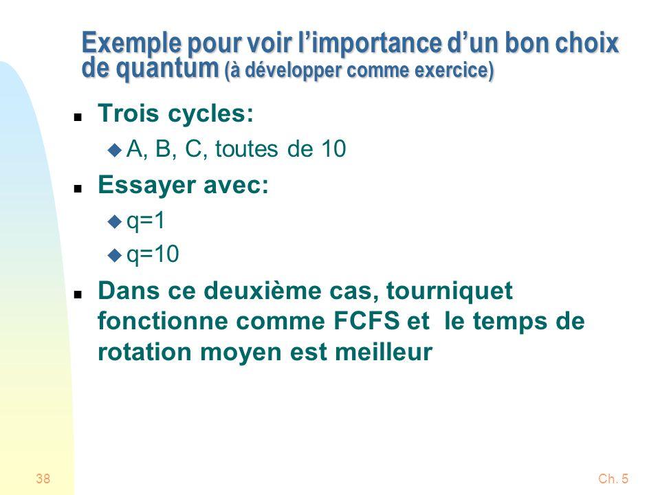 Ch. 538 Exemple pour voir limportance dun bon choix de quantum (à développer comme exercice) n Trois cycles: u A, B, C, toutes de 10 n Essayer avec: u
