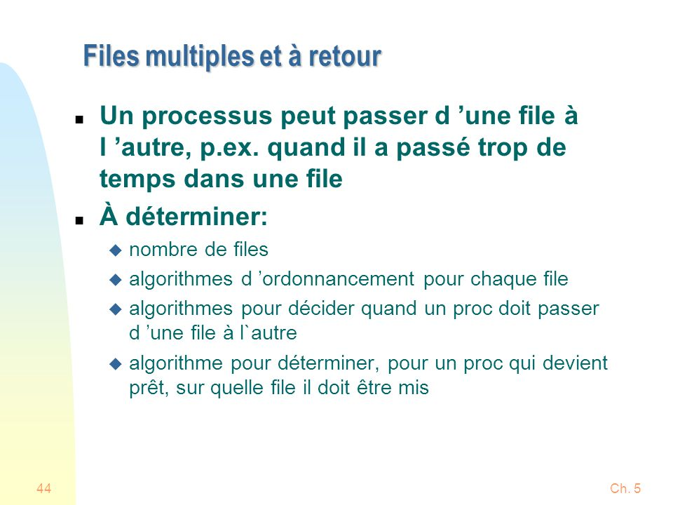 Ch. 545 Files multiples et à retour (trois files) PRIO = 0 PRIO = 1 PRIO = 2