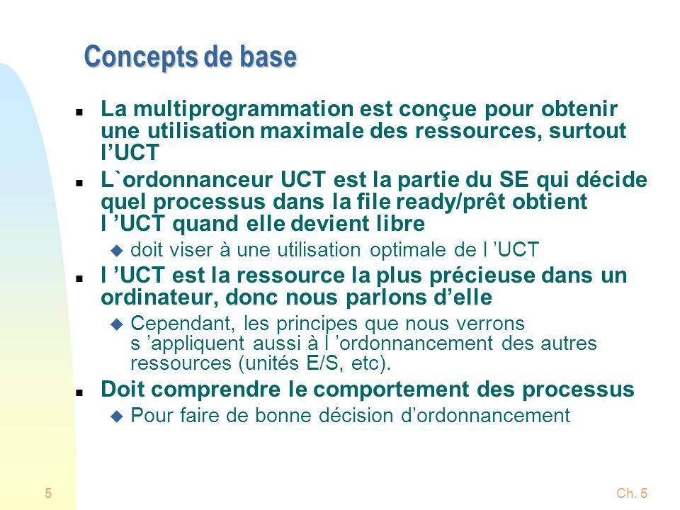 Ch. 55 Concepts de base n La multiprogrammation est conçue pour obtenir une utilisation maximale des ressources, surtout lUCT n L`ordonnanceur UCT est