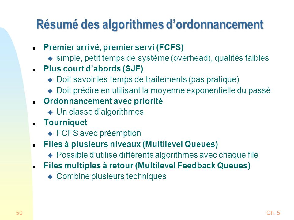Ch. 550 Résumé des algorithmes dordonnancement n Premier arrivé, premier servi (FCFS) u simple, petit temps de système (overhead), qualités faibles n