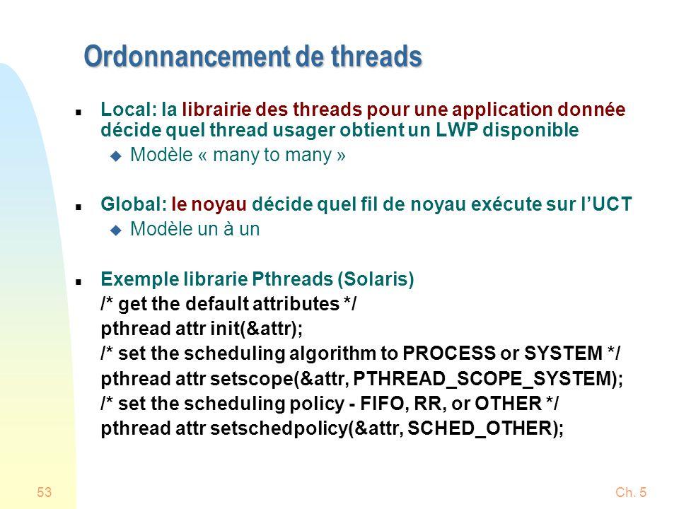 Ch. 553 Ordonnancement de threads n Local: la librairie des threads pour une application donnée décide quel thread usager obtient un LWP disponible u