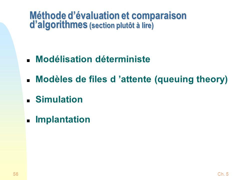 Ch. 556 Méthode dévaluation et comparaison dalgorithmes (section plutôt à lire) n Modélisation déterministe n Modèles de files d attente (queuing theo