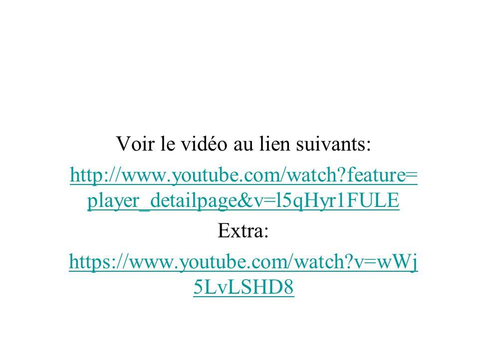 Voir le vidéo au lien suivants: http://www.youtube.com/watch?feature= player_detailpage&v=l5qHyr1FULE Extra: https://www.youtube.com/watch?v=wWj 5LvLS