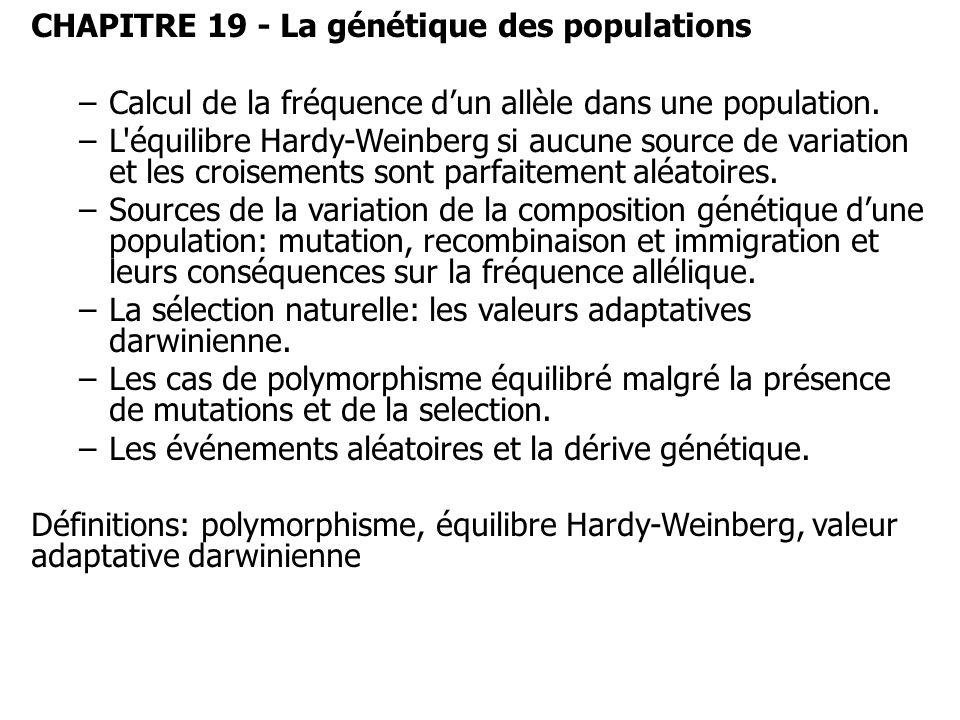 CHAPITRE 19 - La génétique des populations –Calcul de la fréquence dun allèle dans une population. –L'équilibre Hardy-Weinberg si aucune source de var