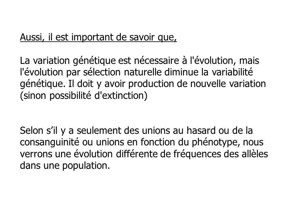 Aussi, il est important de savoir que, La variation génétique est nécessaire à l'évolution, mais l'évolution par sélection naturelle diminue la variab