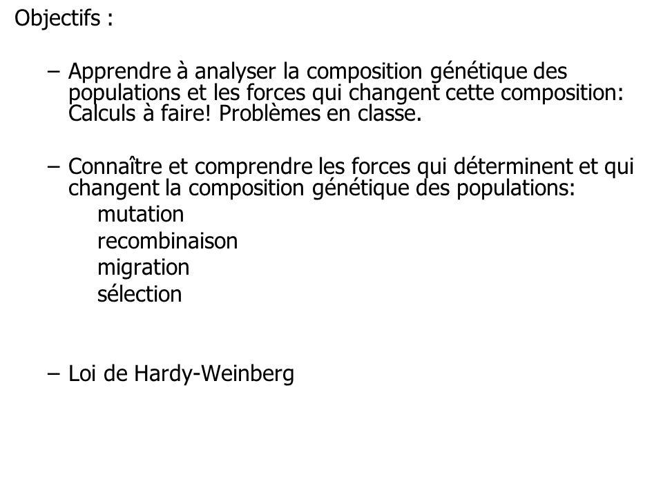 Objectifs : –Apprendre à analyser la composition génétique des populations et les forces qui changent cette composition: Calculs à faire! Problèmes en