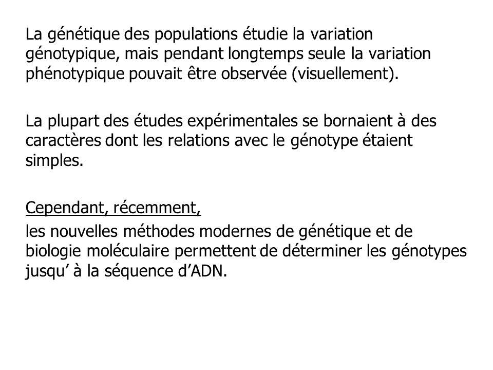 La génétique des populations étudie la variation génotypique, mais pendant longtemps seule la variation phénotypique pouvait être observée (visuelleme