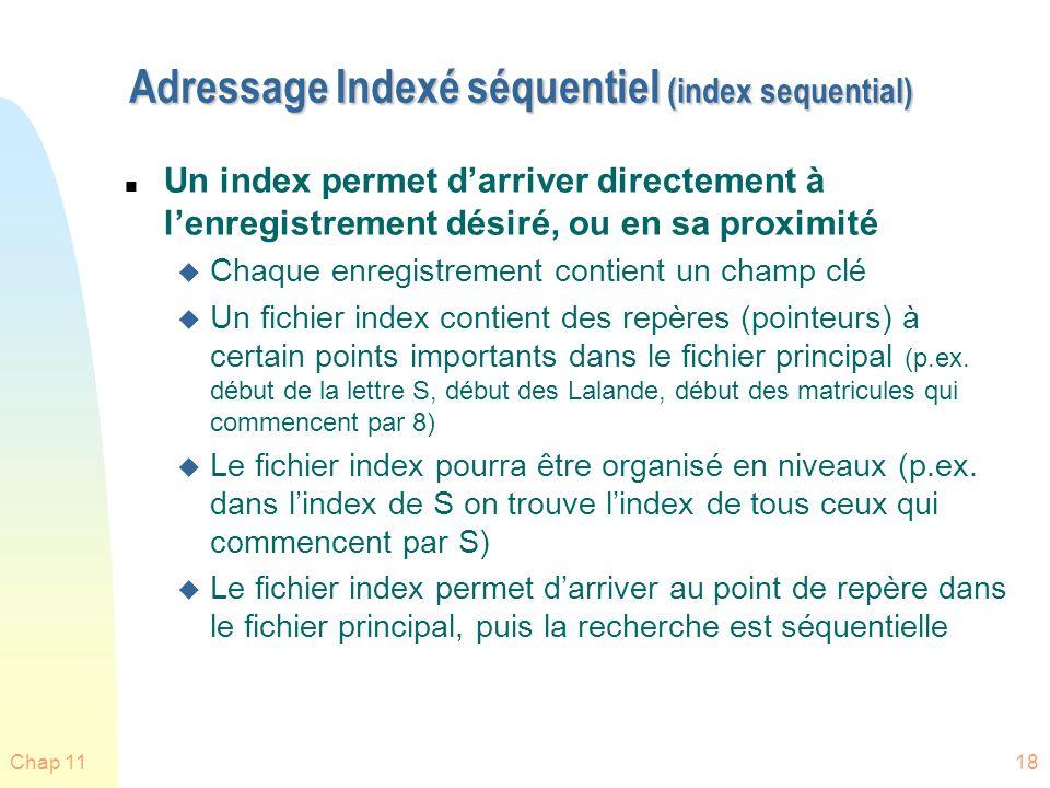 Chap 1118 Adressage Indexé séquentiel (index sequential) n Un index permet darriver directement à lenregistrement désiré, ou en sa proximité u Chaque