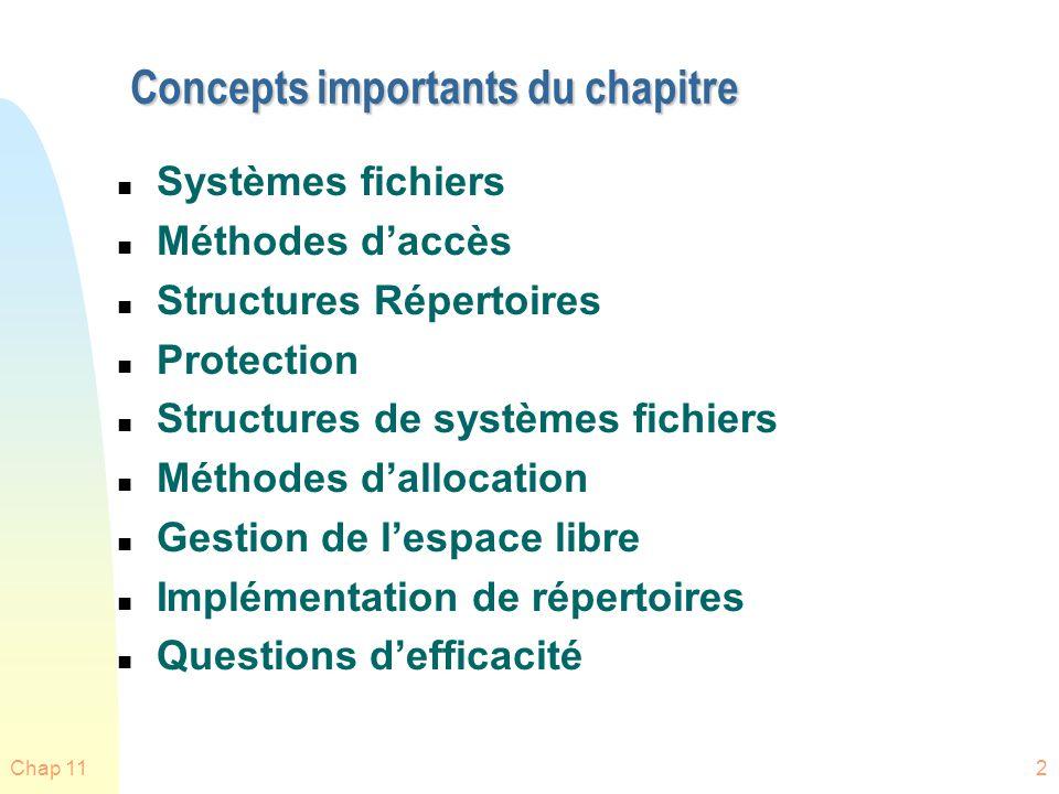 Chap 112 Concepts importants du chapitre n Systèmes fichiers n Méthodes daccès n Structures Répertoires n Protection n Structures de systèmes fichiers