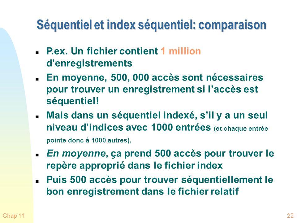 Chap 1122 Séquentiel et index séquentiel: comparaison n P.ex. Un fichier contient 1 million denregistrements n En moyenne, 500, 000 accès sont nécessa