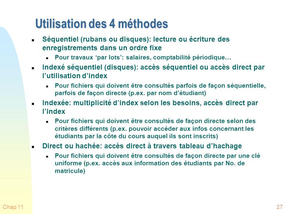 Chap 1127 Utilisation des 4 méthodes n Séquentiel (rubans ou disques): lecture ou écriture des enregistrements dans un ordre fixe n Pour travaux par l
