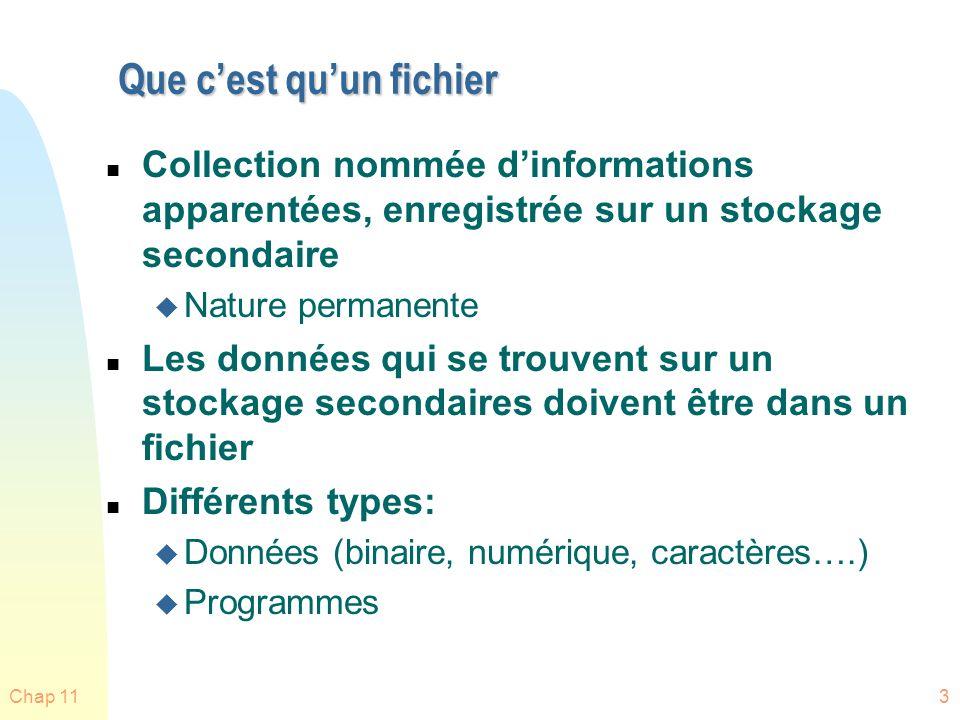 Chap 114 Structures de fichiers n Aucune – séquences doctets… n Texte: Lignes, pages, docs formatés n Source: classes, méthodes, procédures… n Etc.