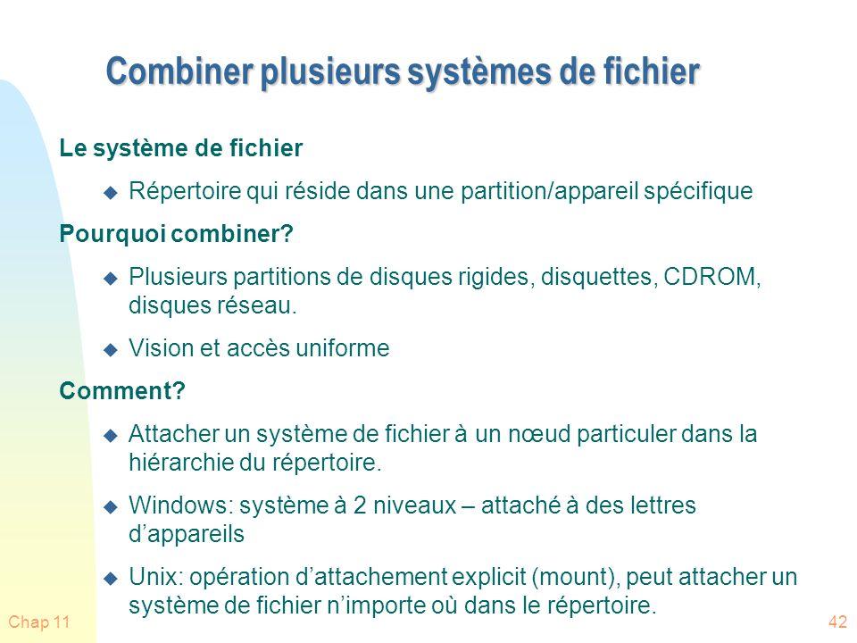 Chap 1143 Attachement du système de fichier n Un système de fichier doit être attaché (mounted) avant dêtre accédé n Un système de fichier est attacher à un point dattachement (mount point) – voir Fig.