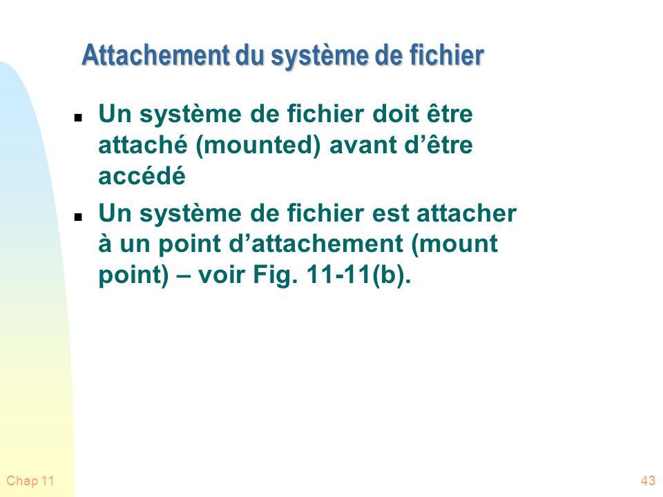 Chap 1143 Attachement du système de fichier n Un système de fichier doit être attaché (mounted) avant dêtre accédé n Un système de fichier est attache