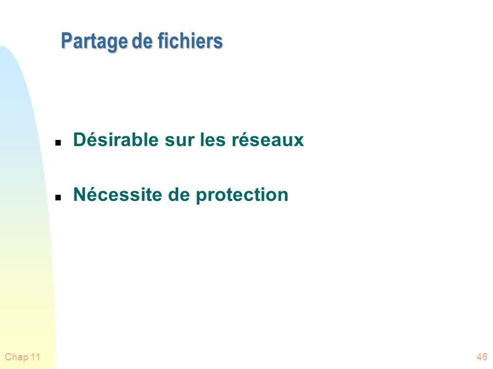 Chap 1146 Partage de fichiers n Désirable sur les réseaux n Nécessite de protection