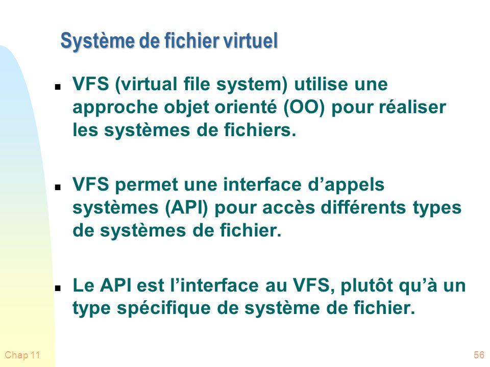 Chap 1156 Système de fichier virtuel n VFS (virtual file system) utilise une approche objet orienté (OO) pour réaliser les systèmes de fichiers. n VFS