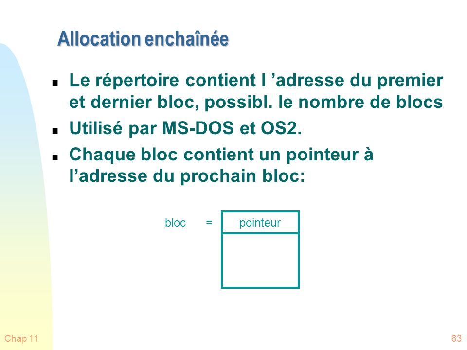 Chap 1163 Allocation enchaînée n Le répertoire contient l adresse du premier et dernier bloc, possibl. le nombre de blocs n Utilisé par MS-DOS et OS2.
