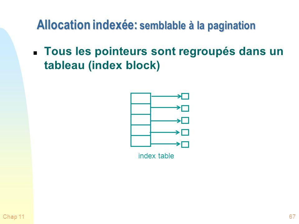 Chap 1167 Allocation indexée: semblable à la pagination n Tous les pointeurs sont regroupés dans un tableau (index block) index table
