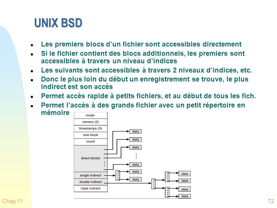 Chap 1172 UNIX BSD n Les premiers blocs dun fichier sont accessibles directement n Si le fichier contient des blocs additionnels, les premiers sont ac