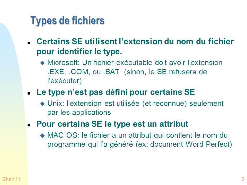Chap 119 Types de fichiers n Certains SE utilisent lextension du nom du fichier pour identifier le type. u Microsoft: Un fichier exécutable doit avoir
