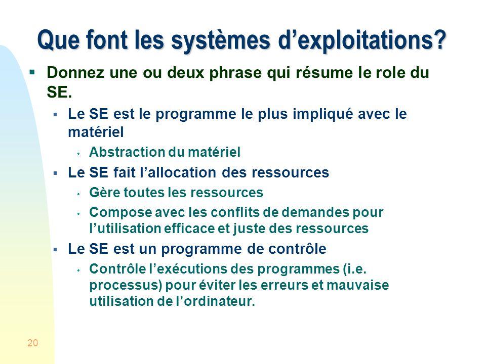 20 Que font les systèmes dexploitations.Donnez une ou deux phrase qui résume le role du SE.
