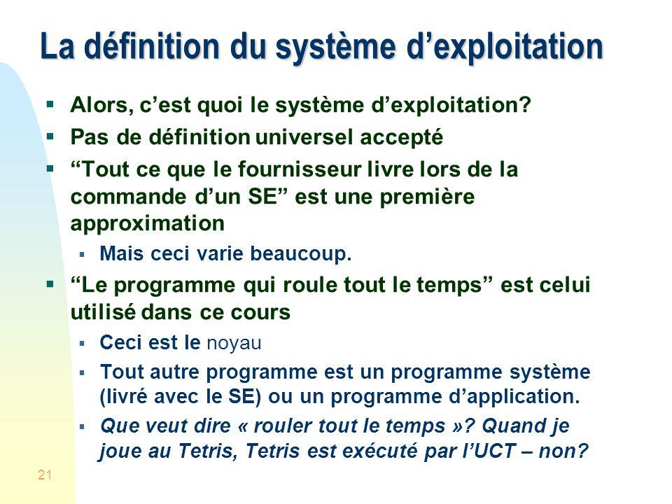 21 La définition du système dexploitation Alors, cest quoi le système dexploitation.