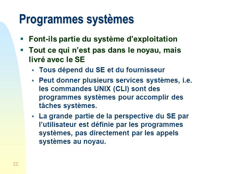 22 Programmes systèmes Font-ils partie du système dexploitation Tout ce qui nest pas dans le noyau, mais livré avec le SE Tous dépend du SE et du fournisseur Peut donner plusieurs services systèmes, i.e.