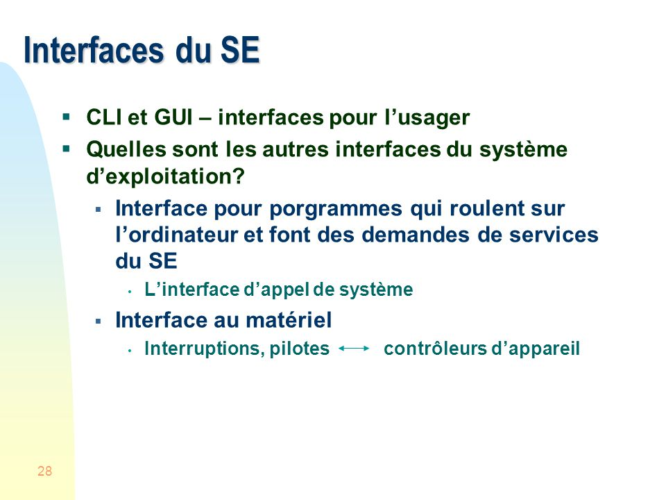 28 Interfaces du SE CLI et GUI – interfaces pour lusager Quelles sont les autres interfaces du système dexploitation.