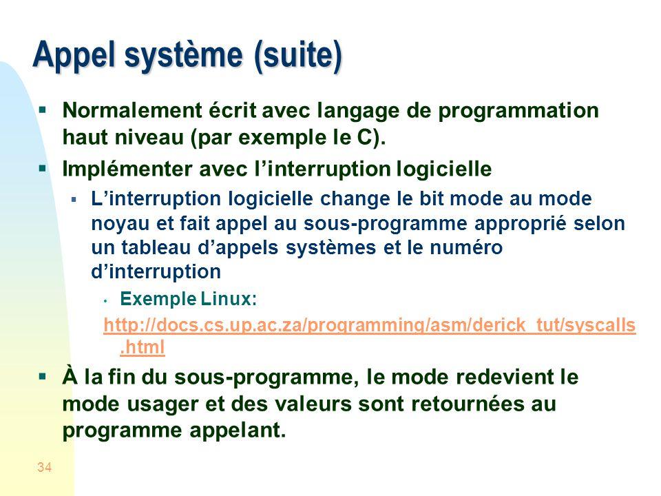 34 Appel système (suite) Normalement écrit avec langage de programmation haut niveau (par exemple le C).