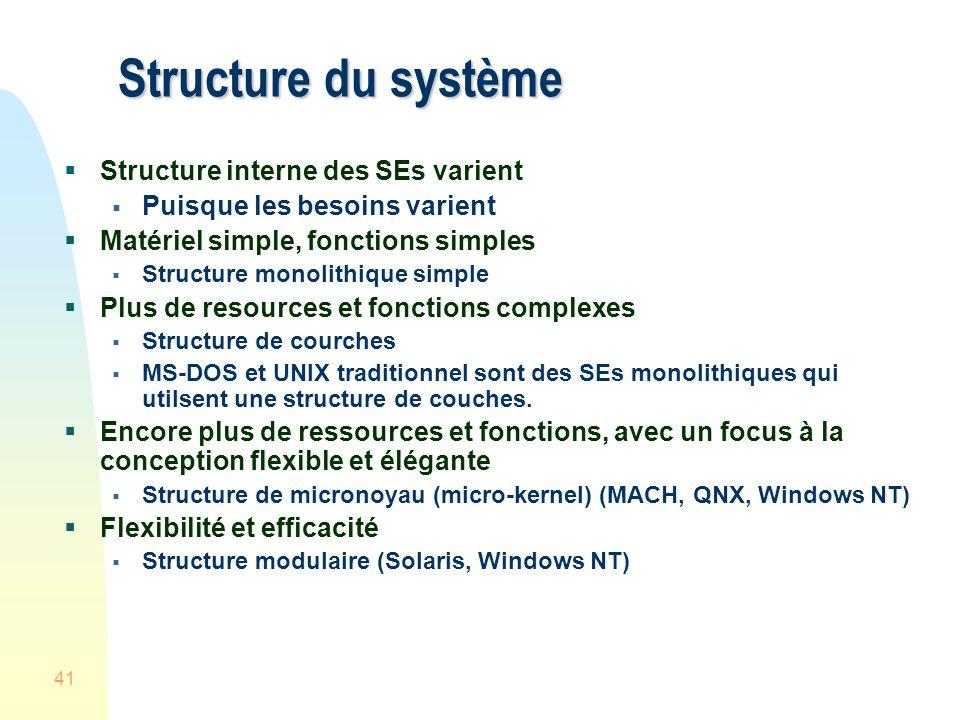 41 Structure du système Structure interne des SEs varient Puisque les besoins varient Matériel simple, fonctions simples Structure monolithique simple Plus de resources et fonctions complexes Structure de courches MS-DOS et UNIX traditionnel sont des SEs monolithiques qui utilsent une structure de couches.